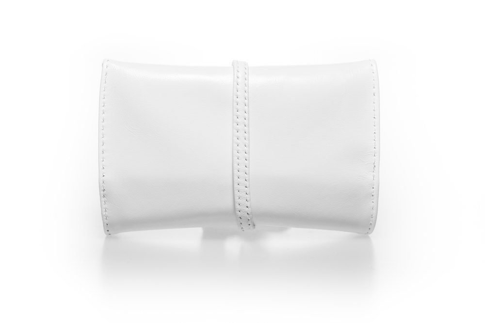 Real leather white tobacco pouch