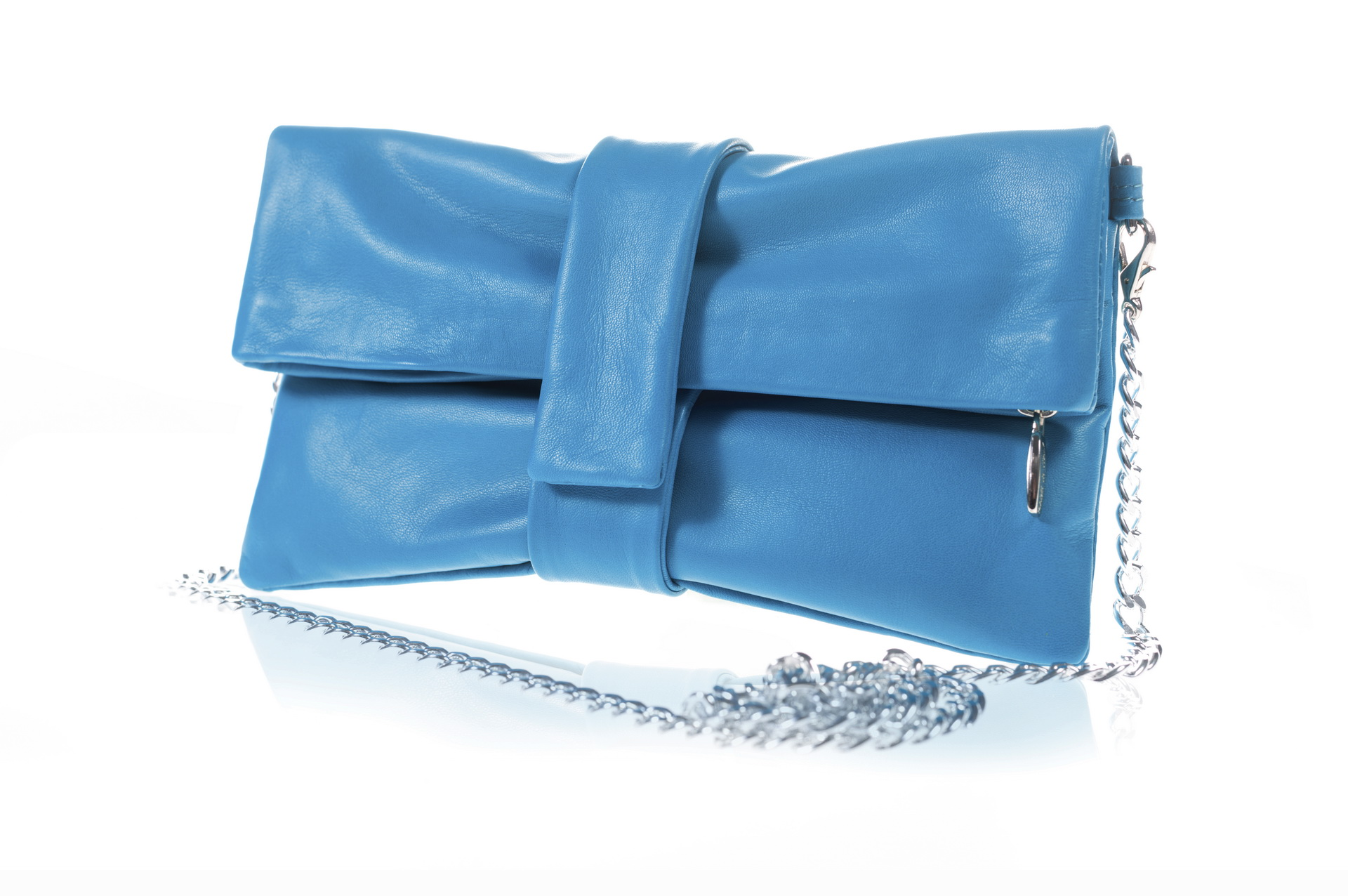 Fiocco Tiffany Clutch - Handcrafted bag in genuine leather with shoulder strap