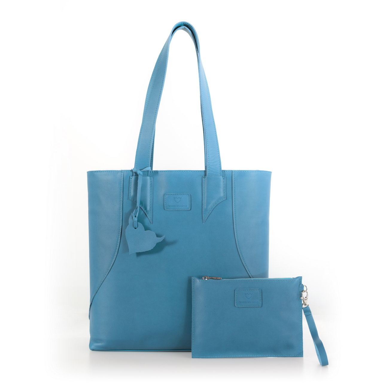 Brava Light Blue, shopper bag made with real leather