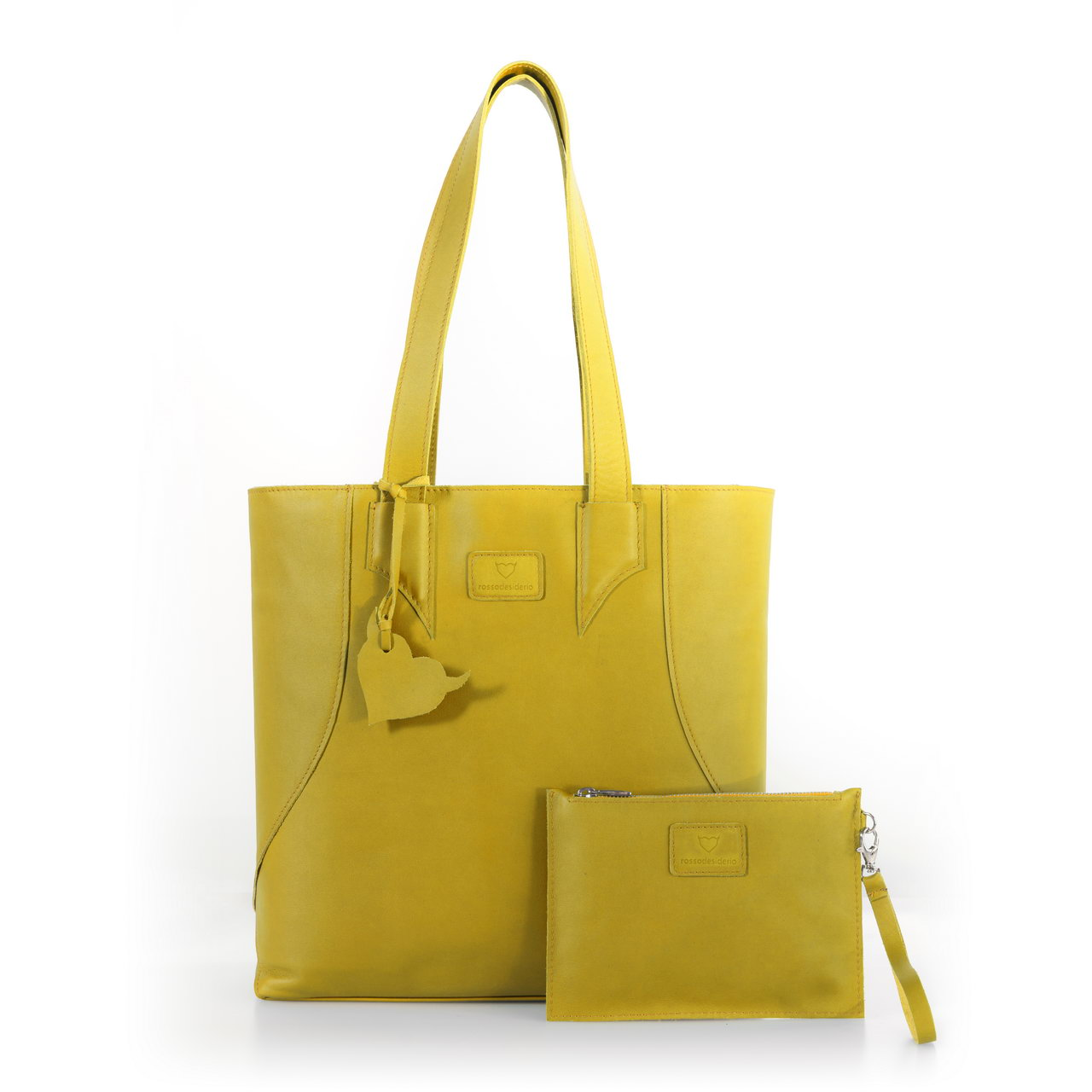 Brava Yellow, shopper bag made with real leather
