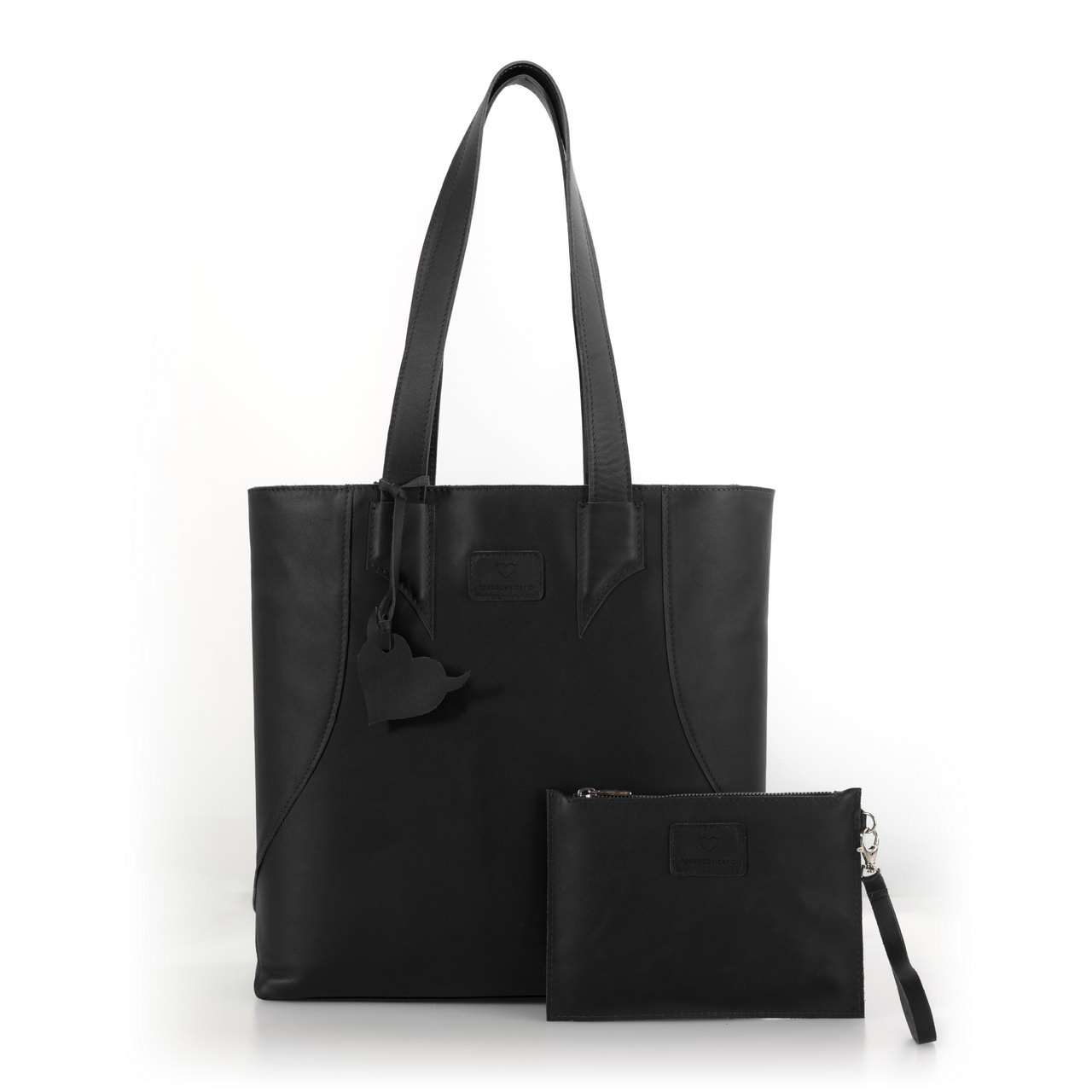 Brava Black, shopper bag made with real leather