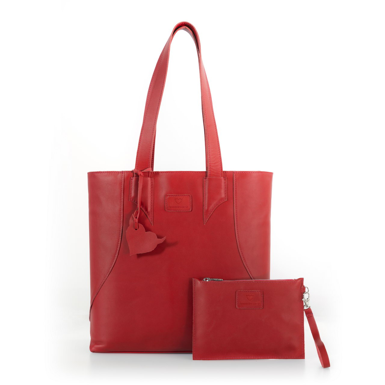Brava Red, shopper bag made with real leather