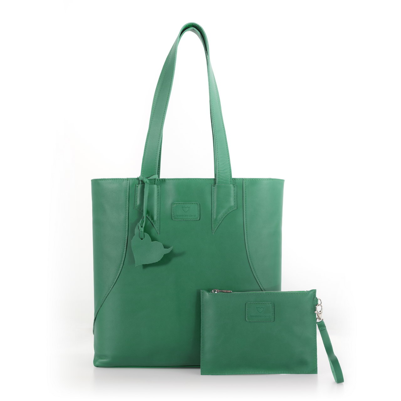 Brava Green, shopper bag made with real leather