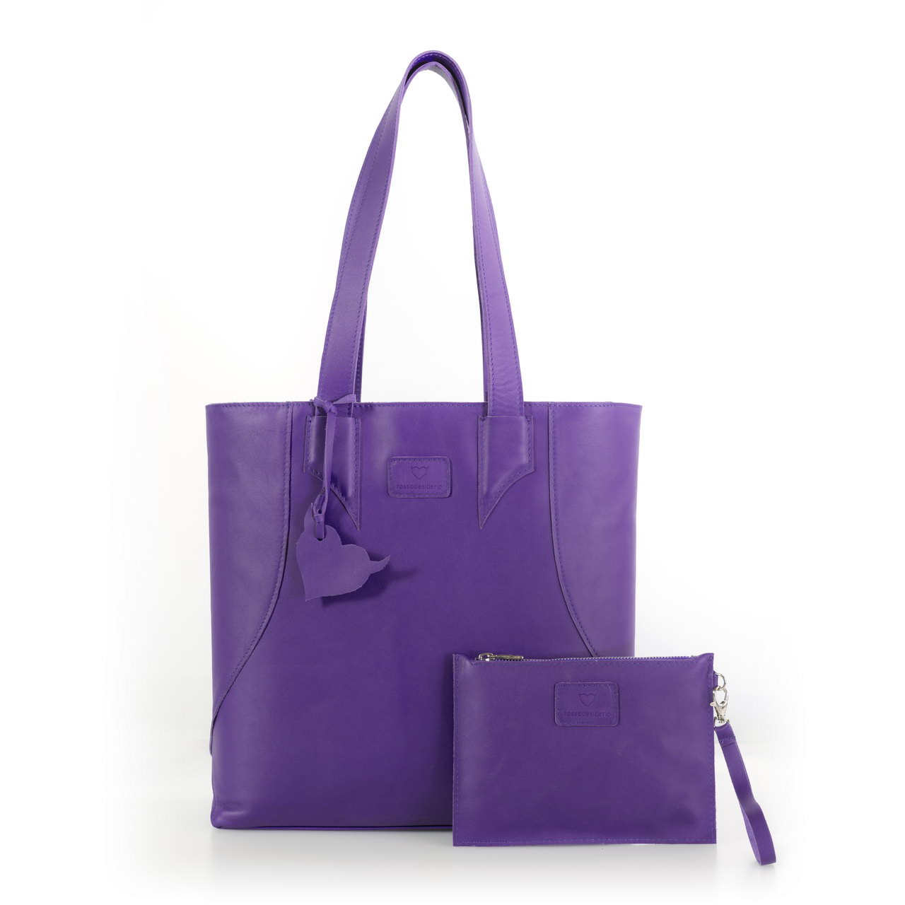 Brava Violet, shopper bag made with real leather