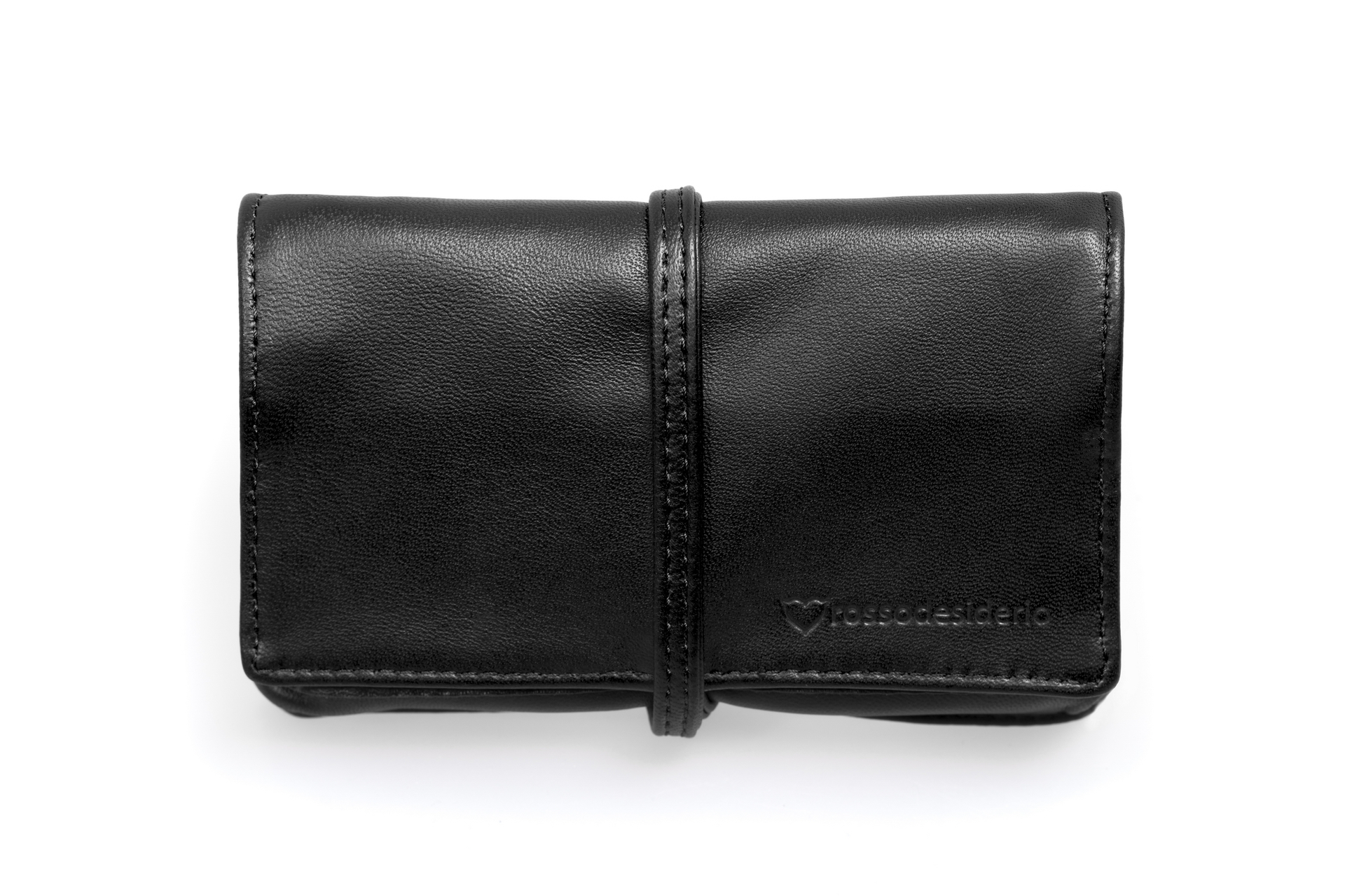 Real leather black tobacco pouch