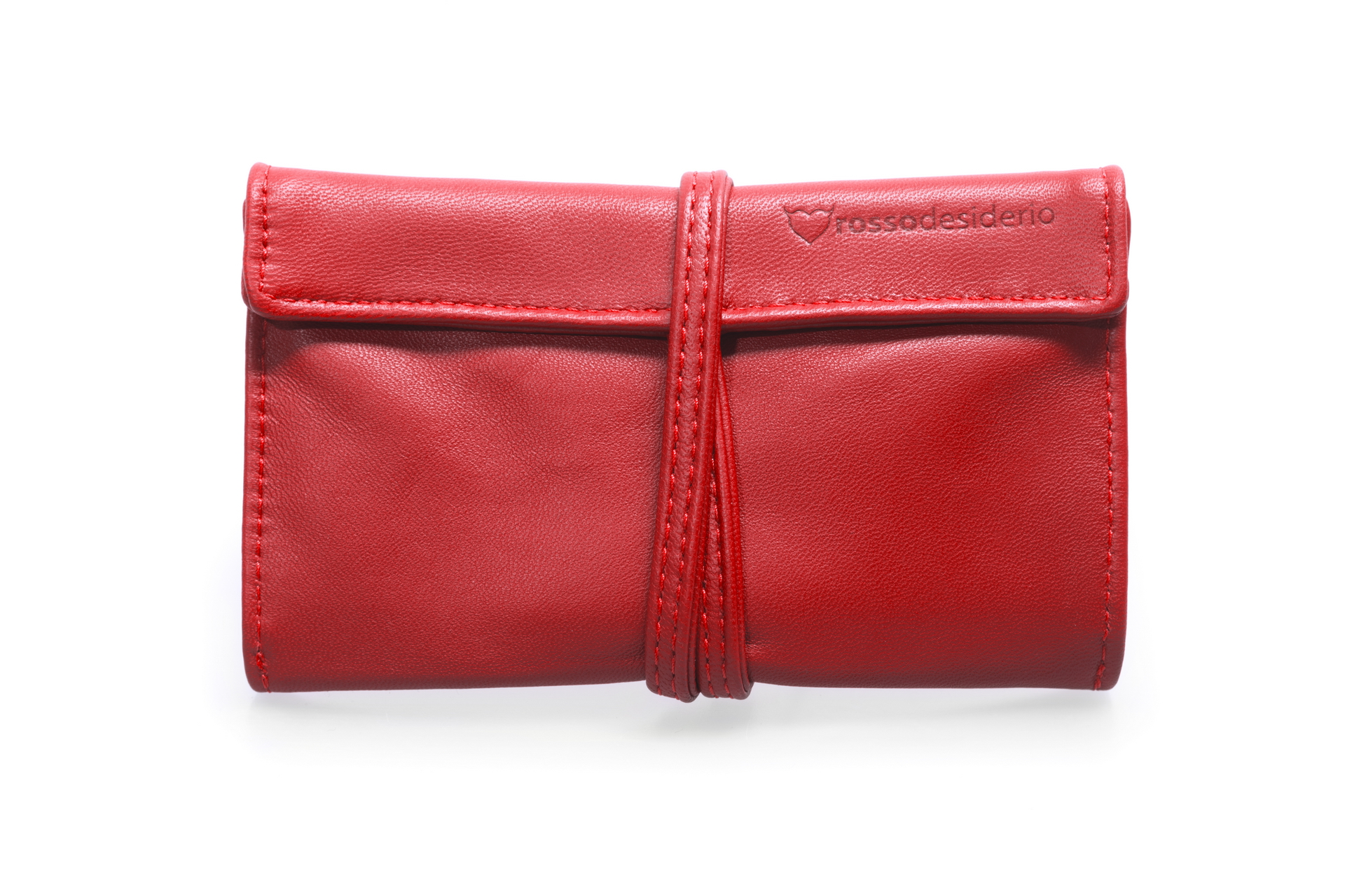 Real leather red tobacco pouch
