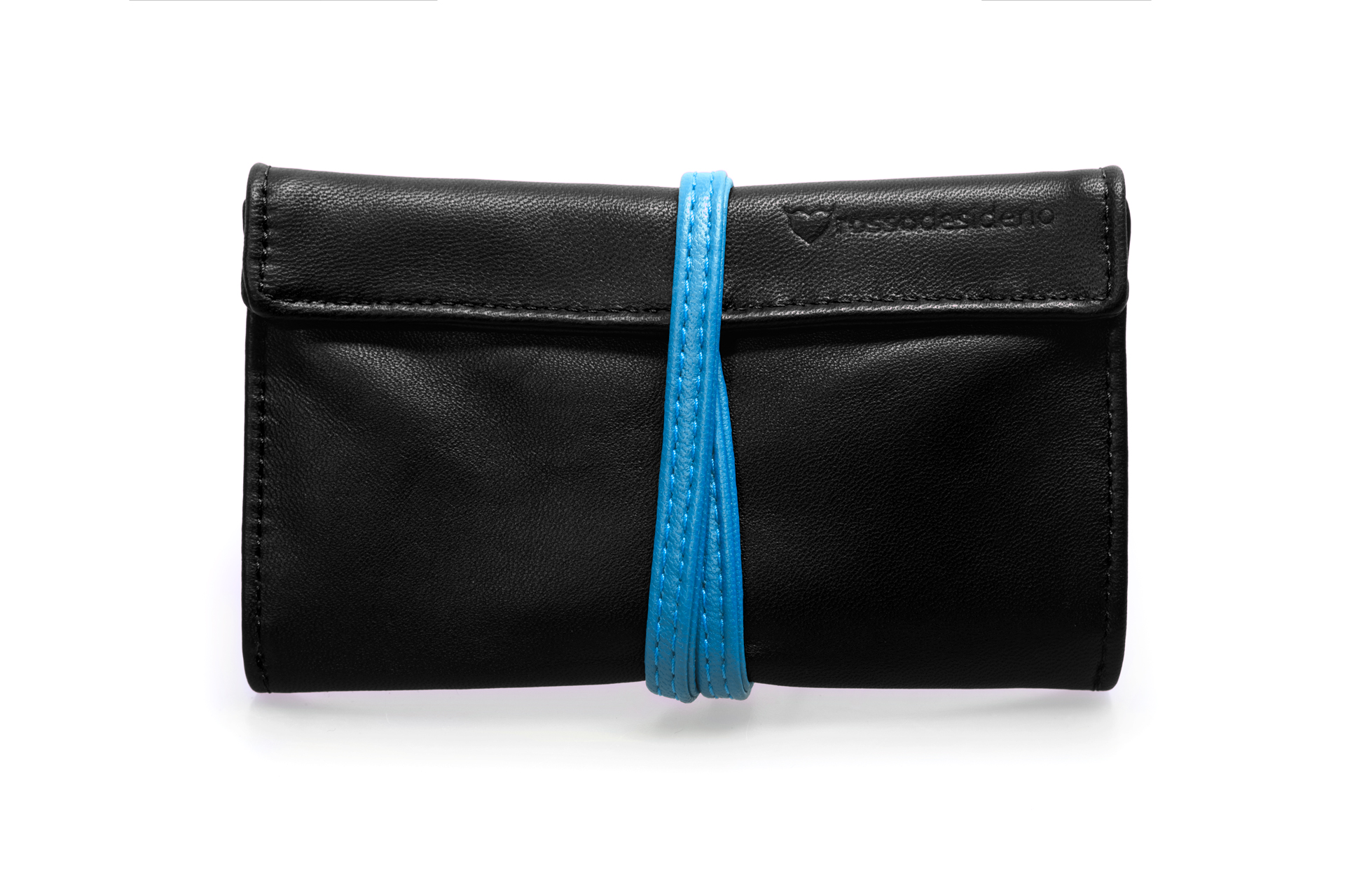 Real leather Black and Avio Blue tobacco pouch