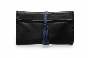 Real leather Black and Dark Blue tobacco pouch